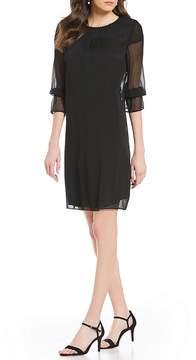 Isaac Mizrahi Imnyc IMNYC Jewel Neck Smocked Yoke A-Line Dress