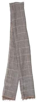 Brunello Cucinelli Linen-Blend Check Pattern Scarf