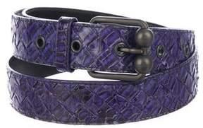 Bottega Veneta Snakeskin Intrecciato Belt