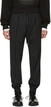 Juun.J Black Pinstripe Drawstring Trousers