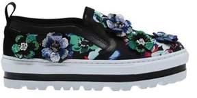 MSGM Women's Floral Platform Slip-on Sneaker Black/embroidered Flower Print.