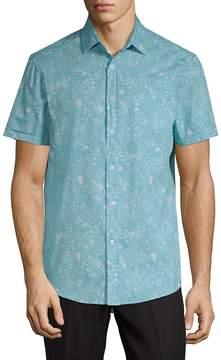 Report Collection Men's Ocean-Print Cotton Button-Down Shirt