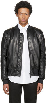 Pyer Moss Black Leather Taxi Driver MA-1 Bomber Jacket