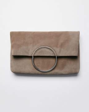 Express Genuine Suede O-Ring Clutch