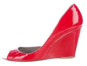 Anya Hindmarch Patent Leather Semi-D'Orsay Wedges