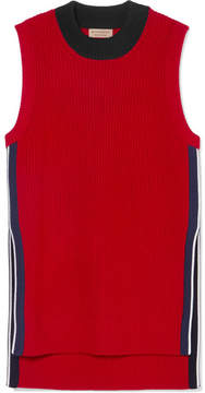 Burberry Ribbed Wool And Cashmere-blend Tank - Red