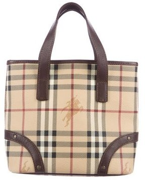 Burberry Haymarket Check Mini Tote - BROWN - STYLE