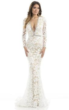 Johnathan Kayne 6113 Sequined Deep V-neck Mermaid Dress