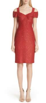 Red Collection Glamour Sequin Knit Cold Shoulder Dress