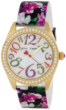 Betsey Johnson Women's Floral Crystal Silicone Watch