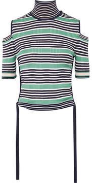 Fendi Cold-shoulder Striped Silk-blend Top - Green