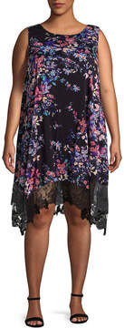 Spense Sleeveless Floral Shift Dress - Plus