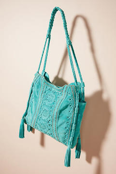 Anthropologie Embroidered Aqua Tote