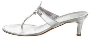 Salvatore Ferragamo Metallic Thong Sandals