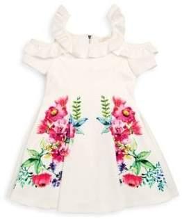 Hannah Banana Little Girl's Floral Cold-Shoulder Dress