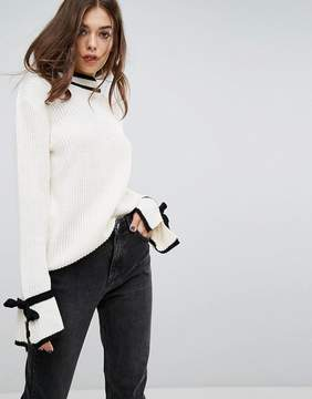 PrettyLittleThing Contrast Edge Tie Sleeve Detail Sweater