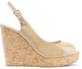 Jimmy Choo Prova 120 Patent-leather Wedge Sandals - Neutral