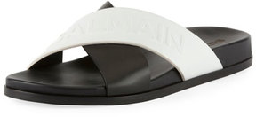 Balmain Crisscross Flat Leather Slide Sandal