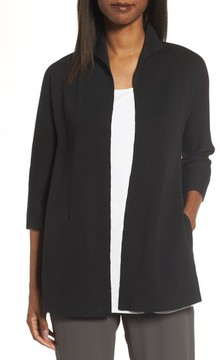 Eileen Fisher Women's Silk & Organic Cotton Interlock Knit Funnel Neck Jacket