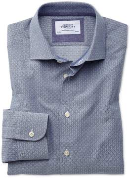 Charles Tyrwhitt Slim Fit Semi-Spread Collar Business Casual Diamond Texture Navy and Grey Cotton Dress Shirt Single Cuff Size 15/33