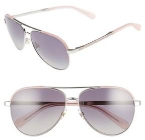 Women's Kate Spade New York Amarissa 59Mm Polarized Aviator Sunglasses - Silver/ Pink