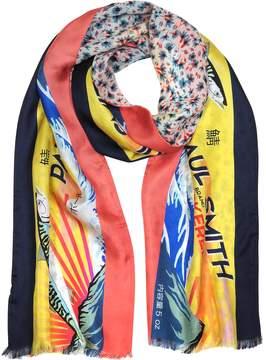 Paul Smith Yellow Mackerel Print Silk Blend Reversible Men's Tubular Scarf