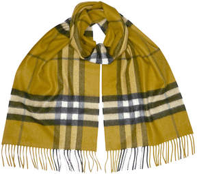 Burberry Classic Cashmere Scarf in Check - Dark Lime