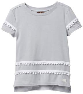 7 For All Mankind High-Low Pompom Tee (Big Girls)