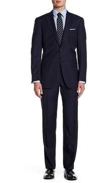 Hart Schaffner Marx Navy Pinstripe Two Button Notch Lapel Wool New York Fit Suit