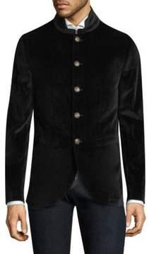 John Varvatos Stand Collar Velvet Jacket