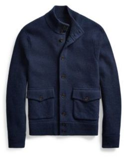 Ralph Lauren Wool-Blend Skeet Cardigan Medieval Blue Heather Xs