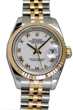 Rolex Datejust White Dial Automatic Ladies Steel and 18K Yellow Gold Jubilee Watch