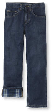 L.L. Bean Boys' Double L Straight Leg Jeans, Flannel-Lined