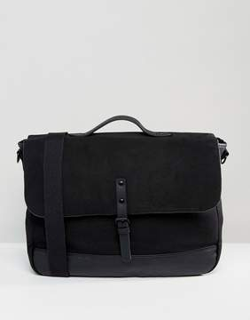 Asos Satchel With Faux Leather Base And Front Strap In Black