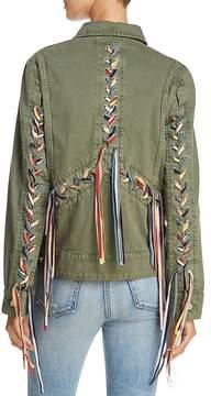 Blank NYC BLANKNYC Rainbow Lace-Up Denim Jacket