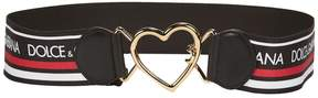Dolce & Gabbana Logo Banded Heart Buckle Belt