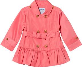 Mayoral Coral Pink Belted Windbreaker Coat
