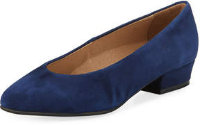 Sesto Meucci Suede Low-Heel Slip-On Pump, Navy