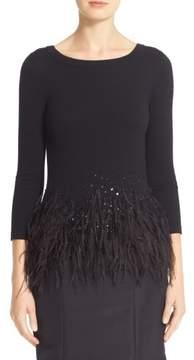 Carolina Herrera Nordstrom x Sequin & Feather Trim Wool Sweater