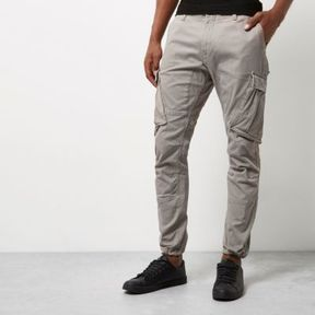 River Island Mens Grey slim fit cargo pants