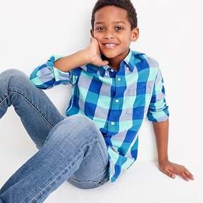 J.Crew Kids' lightweight flannel shirt in turquoise plaid