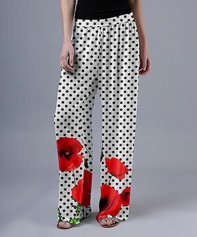Lily White & Red Poppy Polka Dot Palazzo Pants - Women & Plus
