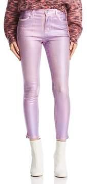 J Brand Alana Coated Crop Skinny Jeans in Pink Prism