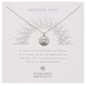 Dogeared Sterling Silver Amazing Mom Radiant 3mm Freshwater Pearl Disc Necklace