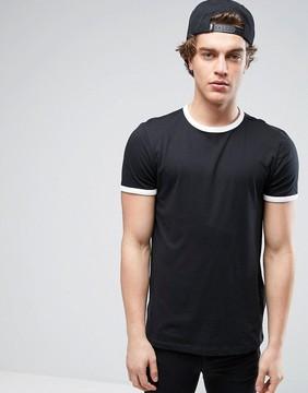 New Look Ringer T-Shirt In Black