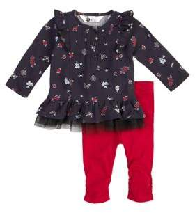 Petit Lem Baby Girl's Two-Piece Floral Top and Cinched Leggings Set