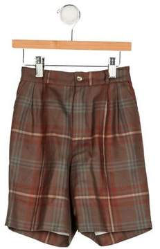 Papo d'Anjo Girls' Plaid Wool Shorts