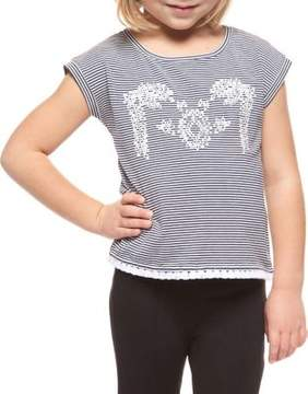 Dex Little Girl's Embroidered Stripe Top