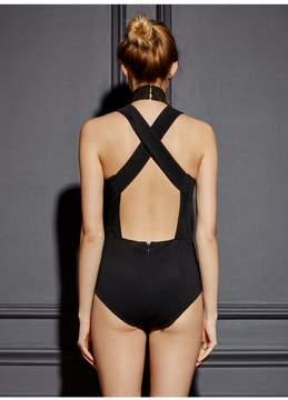 Fleur Du Mal | Turtleneck Crossback Bodysuit | L | Black