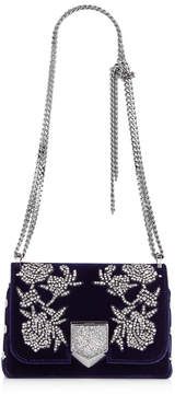 Jimmy Choo LOCKETT PETITE Navy Velvet Shoulder Bag with Peony Crystal Embroidery